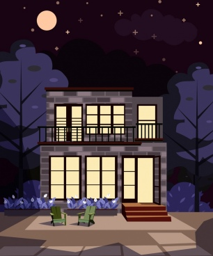 house painting modern design moon night decor