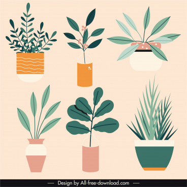 house plants icons colored sketch flat vintage