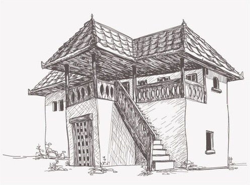 house sketch vector 4
