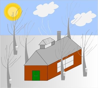 House Trees Sun Snow clip art