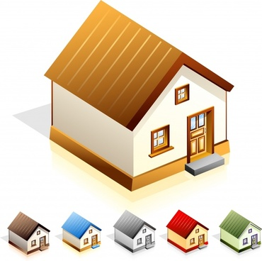 house icons modern simple colored 3d design