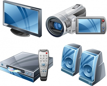 audiovisual appliances icons colored modern 3d sketch