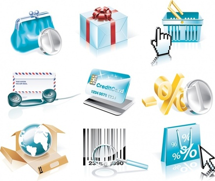 goods icons colored modern 3d design