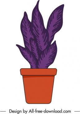 houseplant icon flat design handdrawn classic