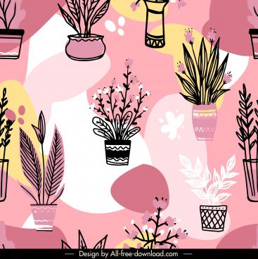 houseplant pattern template flowerpot sketch flat handdrawn retro