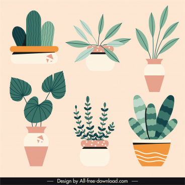 houseplants icons flat classical handdrawn sketch