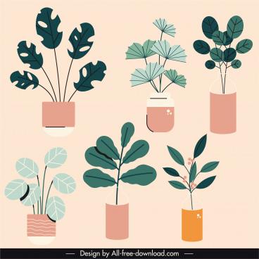 houseplants icons retro flat sketch