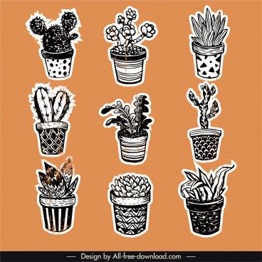 houseplants icons retro handdrawn sketch