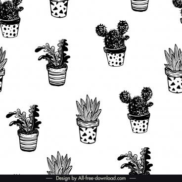 houseplants pattern black white classical handdrawn sketch