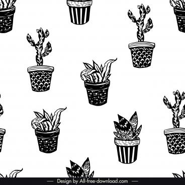 houseplants pattern black white retro repeating design