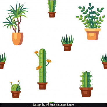 houseplants pattern green potted trees sketch