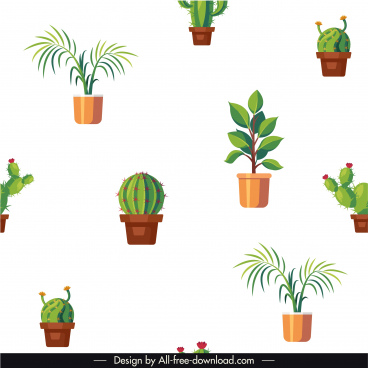 houseplants pattern potted trees elements bright colored decor
