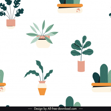 houseplants pattern template bright classical flat decor
