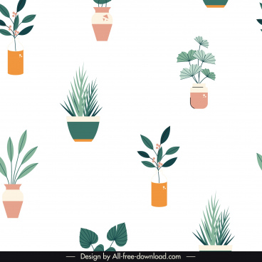 houseplants pattern template bright colorful flat sketch