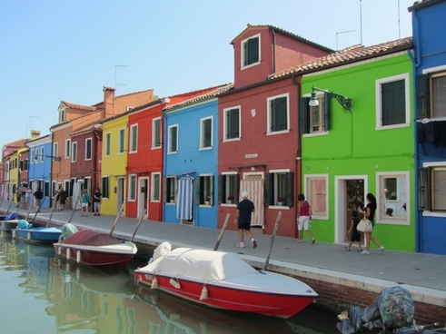 houses colored burano island