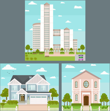 houses concept flat template vector