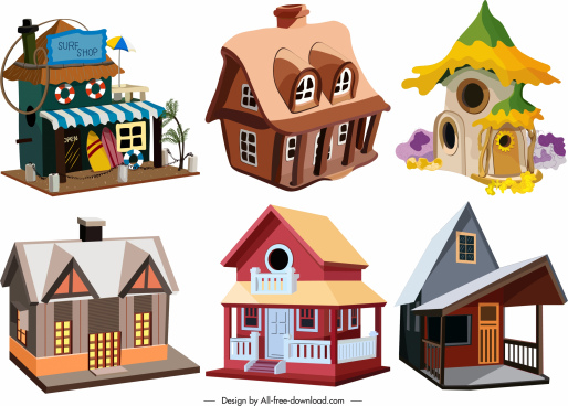 houses icons colorful 3d vintage contemporary sketch
