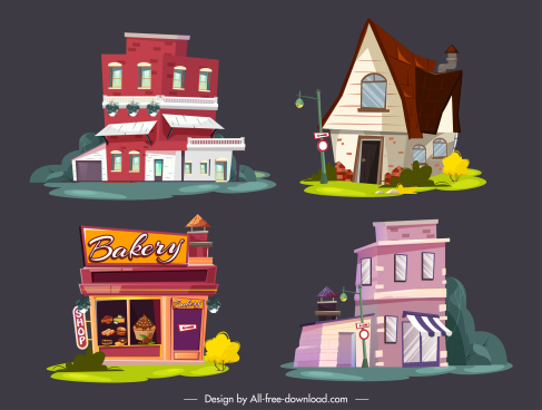 houses icons colorful contemporary shapes sketch