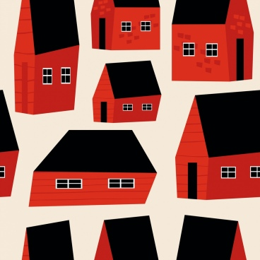 houses pattern classical 3d black red design