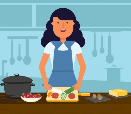 housewife background woman cooking work icons cartoon design