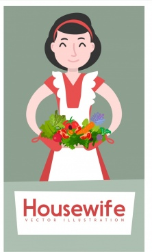 housewife background woman vegetable icons colored cartoon