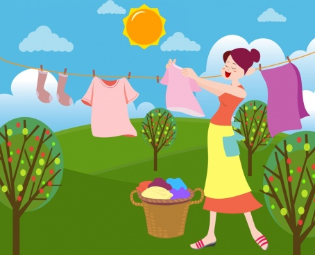 housewife drawing woman drying clothes colored cartoon design