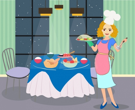 housewife drawing woman preparing diner colored cartoon