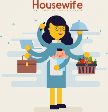 housewife icon colored cartoon character