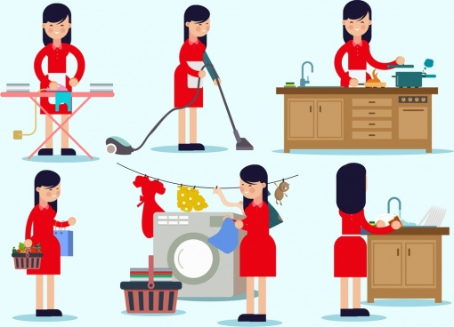 housewife icons collection cartoon characters