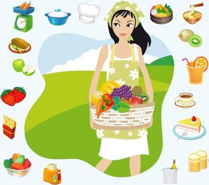 housewife work design elements food icons cartoon design