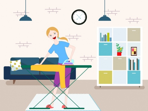 housewife work drawing ironing woman icon colored cartoon
