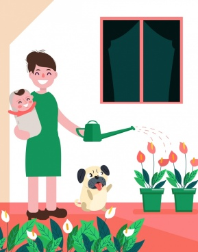 housewife work drawing mother baby watering icons