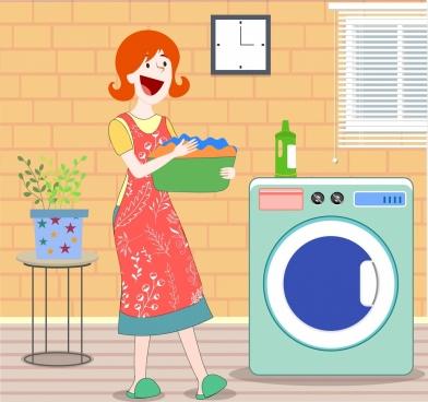 housewife work drawing woman washing machine icons