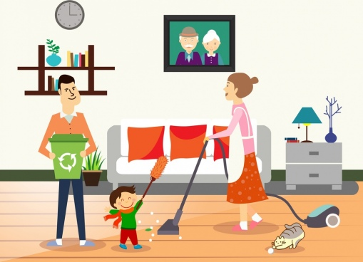 housework background family human icons room interiors decor
