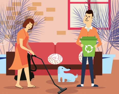 housework painting cleaning couple icon cartoon design
