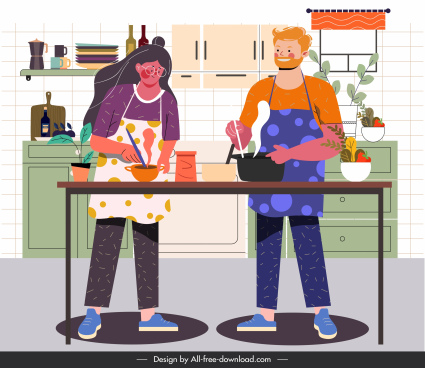 housework painting kitchen theme cartoon characters
