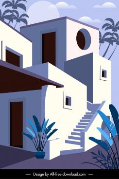 housing architecture template elegant classical exterior sketch