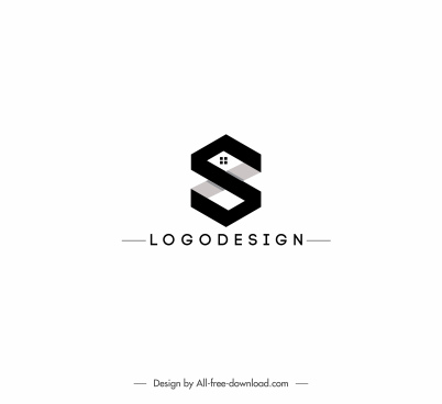 housing logo template text decor black white design