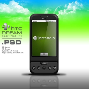 htc dream android phone psd layered