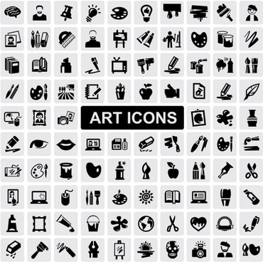 huge collection of black and white icons vector
