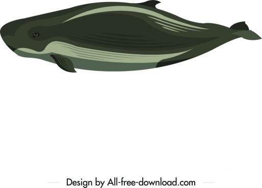 huge whale icon dark green design