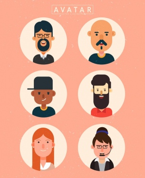 human avatar of a collection round isolation colored cartoon characters