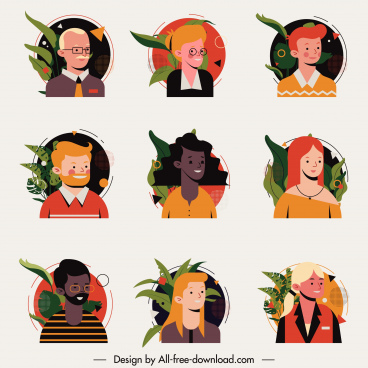 human avatar icons colored cartoon characters sketch