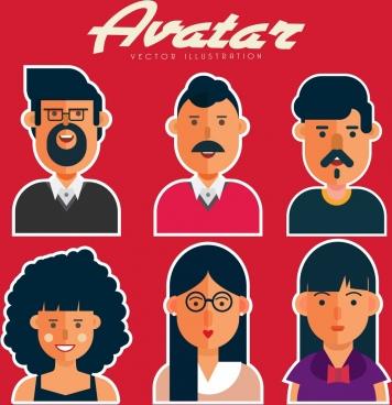 human avatars collection men women icons colored cartoon