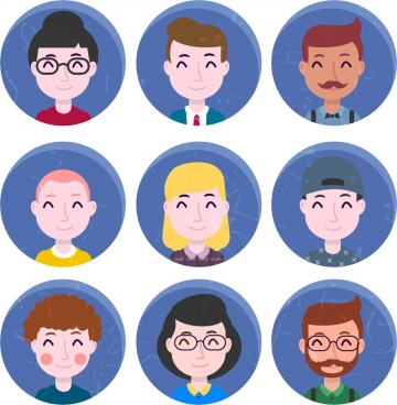 human avatars collections facial icons circle isolation