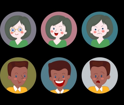 human avatars icons emotional cartoon sketch circle isolation