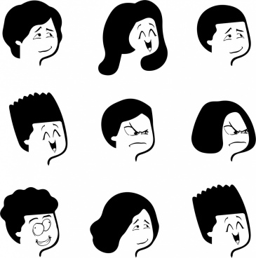 human emoticon collection black white funny design