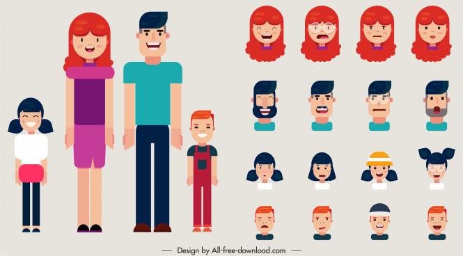 human face avatars funny cartoon sketch