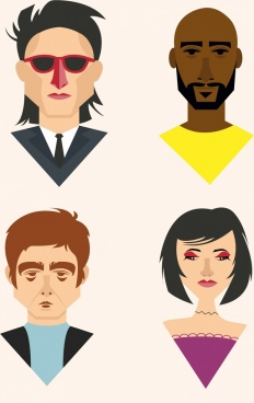 human face icons colored portrait design
