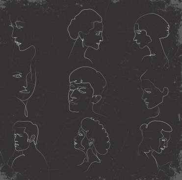 human faces sketch blackboard chalk handdrawn